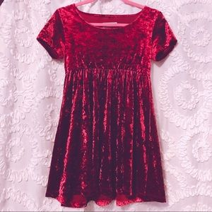 Grungy Red Velvet Baby Doll Dress